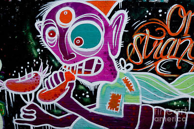 Poster featuring the painting Strange Graffiti Creature Eaitng Sausagees by Yurix Sardinelly
