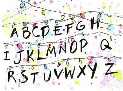 Stranger Things Alphabet Christmas Lights Poster by Olga Shvartsur