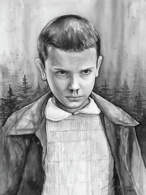 Stranger Things Fan Art Eleven Poster by Olga Shvartsur