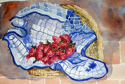 Poster featuring the painting Strawberry Basket by Pat Crowther