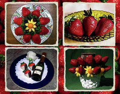 Strawberry Collage Poster by Sally Weigand