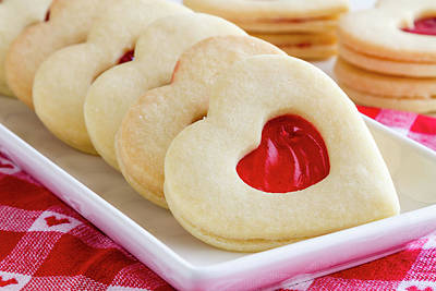 Poster featuring the photograph Strawberry Jam Filled Heart Cookies by Teri Virbickis