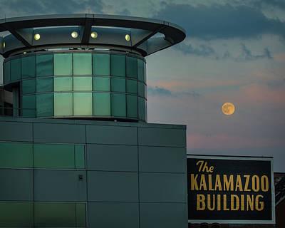 Strawberry Moonrise Over Kalamazoo Poster