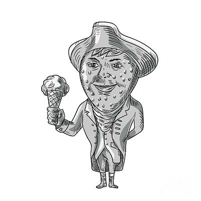 Strawberry Tricorn Hat Ice Cream Black And White Drawing Poster
