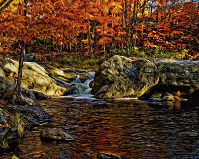 Poster featuring the photograph Stream In Autumn 57 In Oil by Mark Myhaver