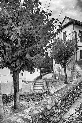 Street In Historic Albaycin In Granada Bw Poster