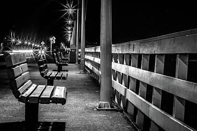 Santa Cruz Wharf At Night Poster