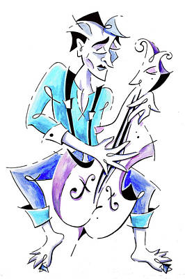 Street Musician Playing Violoncello Illustration Poster by Arte Venezia