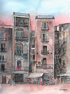 Street Scene At Twilight Poster by Arline Wagner