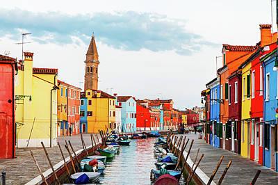 Street Scene In Burano Italy Poster
