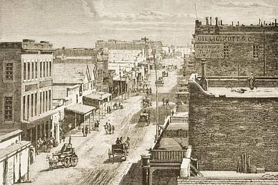 Street Scene In Virginia City, Nevada Poster by Vintage Design Pics
