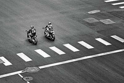 Street Scene - Motorcyclists Poster