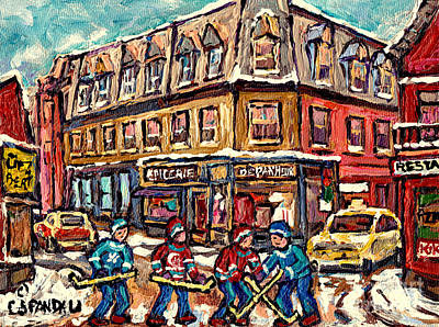 Streets Of Montreal Verdun Depanneur Winter Scene Paintings Canadian Hockey Art Carole Spandau Poster by Carole Spandau