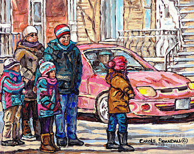 Streets Of Verdun Beautiful Winter Afternoon Family Stroll Canadian Painting Carole Spandau Artist   Poster by Carole Spandau