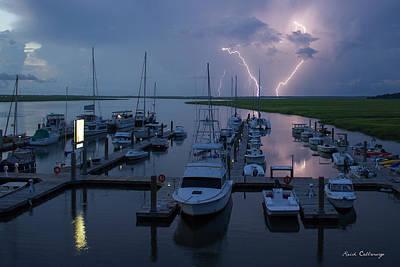 Striking Tybee Island Lightning  Poster by Reid Callaway
