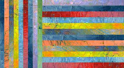 Stripes With Blue And Red Poster by Michelle Calkins
