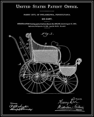 Stroller Patent - Black Poster by Finlay McNevin