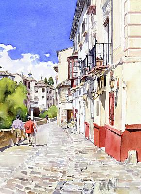 Strolling Alongside The River Darro In Granada Poster