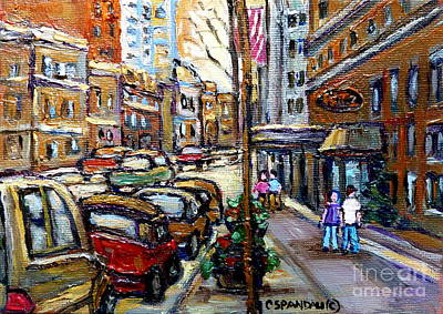 Strolling By The Ritz Hotel Sherbrook Montreal Art Best Original Canadian Paintings For Sale Spandau Poster by Carole Spandau