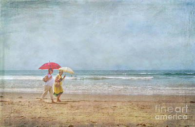 Poster featuring the photograph Strolling On The Beach by David Zanzinger