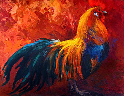 Strutting His Stuff - Rooster Poster by Marion Rose