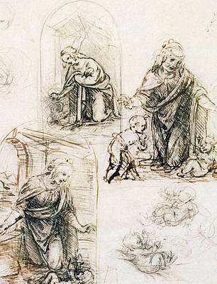 Studies For Nativity Poster by Leonardo Da Vinci