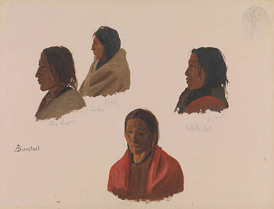 Studies Of Indian Chiefs Made At Fort Laramie Poster by Albert Bierstadt