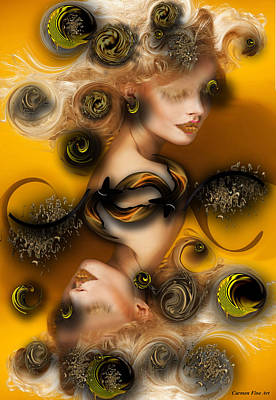 Poster featuring the digital art Study For Charming Poetry by Carmen Fine Art