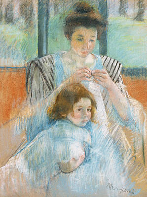 Study For Young Mother Sewing Poster