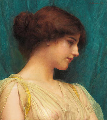 Study Of A Girl's Head Poster by John William Godward