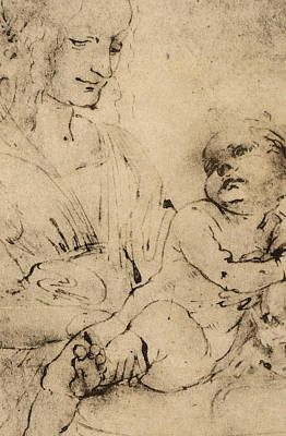 Study Of A Madonna And Child Poster
