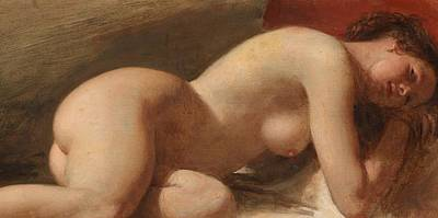 Study Of A Reclining Female Nude Poster by EW Wyon