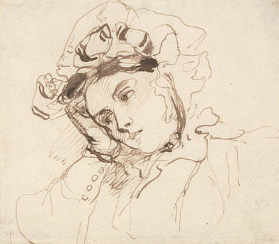 Study Of A Woman With Her Head On Her Hand Poster by Richard Parkes Bonington
