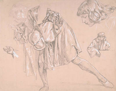 Study Of A Young Man Bending Forward To Kiss A Hand, For The Painting The Departure Of The Prodigal  Poster by James Tissot
