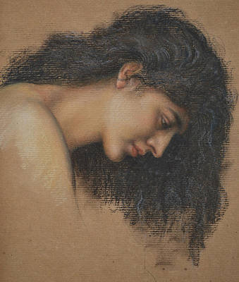 Study Of Female Head For The Cadence Of Autumn Poster by Evelyn De Morgan
