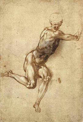 Study Of Figure To  Poster by Michelangelo Buonarroti