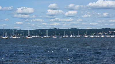 Study Of White On Blue Sailboats Clouds And Seagulls Poster