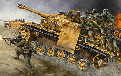 Stug G Platoon Tank Gbx25 - Flames Of War-236 Poster