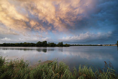 Stunning Dramatic Mammatus Clouds Formation Over Lake Landscape  Poster