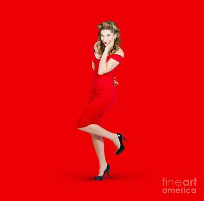 Stunning Pinup Girl In Red Rockabilly Fashion Poster