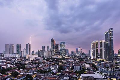 Stunning Sunset Over Jakarta, Indonesia Capital City Poster