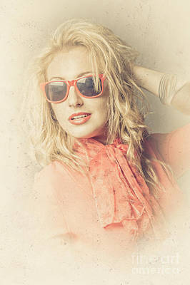 Stylish Blond Female Beauty In Vintage Sunglasses Poster