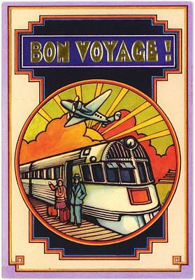 Stylized Bon Voyage Vintage Poster Poster by Gillham Studios