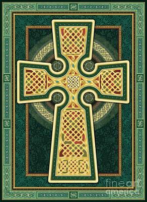 Stylized Celtic Cross In Green Poster