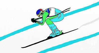 Stylized Downhill Skier Poster by Priscilla Wolfe