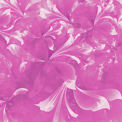 Stylized Flowers In Pink Poster by Mari Biro
