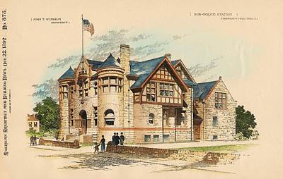 Sub Police Station. Chestnut Hill Pa. 1892 Poster by John Windrim