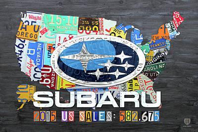 Subaru Usa Sales 2015 License Plate Map Art Poster