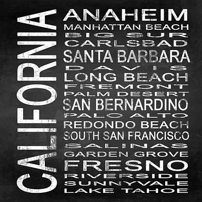 Subway California State 4 Square Poster by Melissa Smith