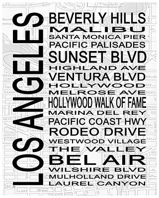 Subway Los Angeles 2 White Poster